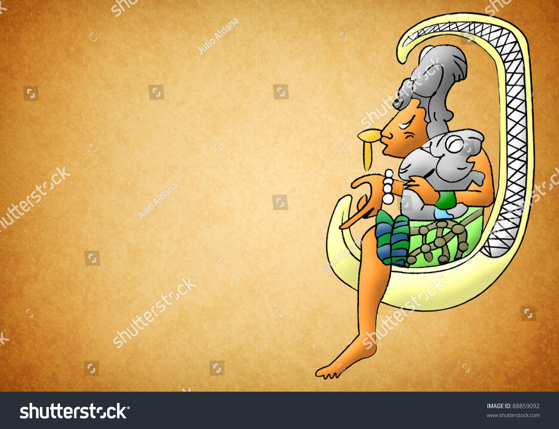 ix chel mayan aztec goddess moon stock illustration