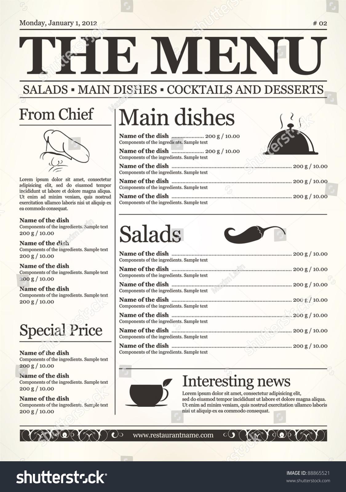 Restaurant menu design concept type old stock vector
