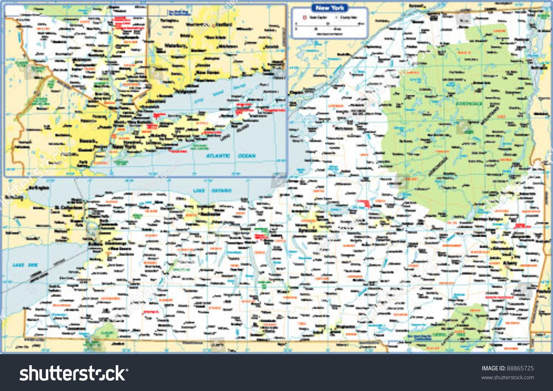 New York State Map Stock Vector  Shutterstock - New york map eps