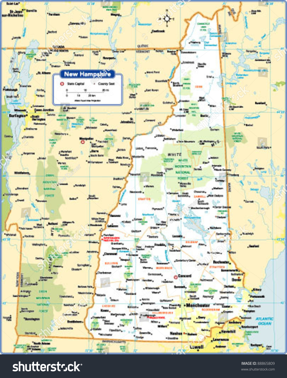 New Hampshire State Map Stock Vector Shutterstock - State of new hampshire map