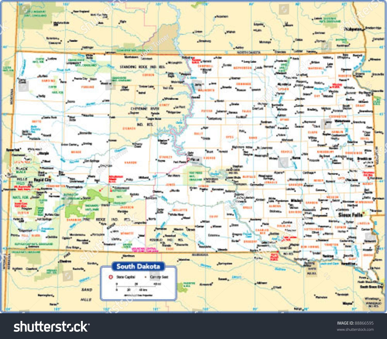 South Dakota State Map Stock Vector Shutterstock - Sd state map