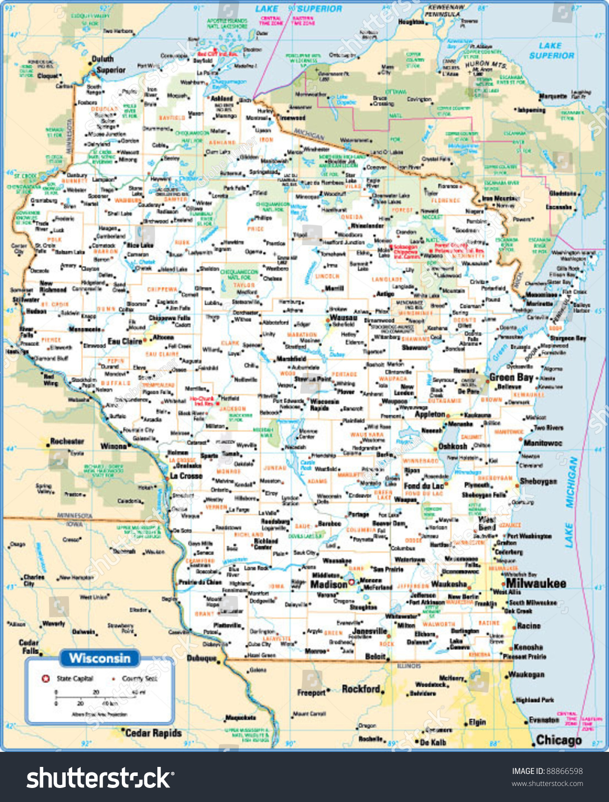 Wisconsin State Map Stock Vector Shutterstock - Wisconsin state map