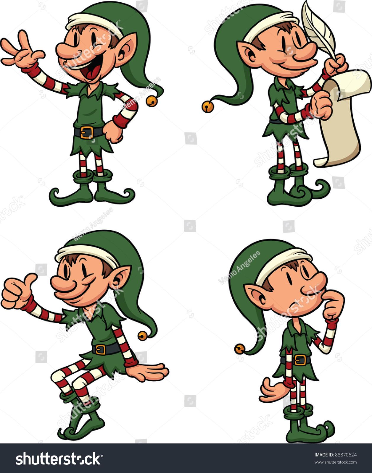 cute cartoon christmas elves each separate stock vector 88870624