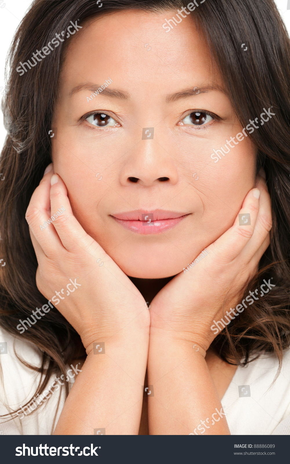 middle aged asian woman beauty portrait stock photo (royalty free