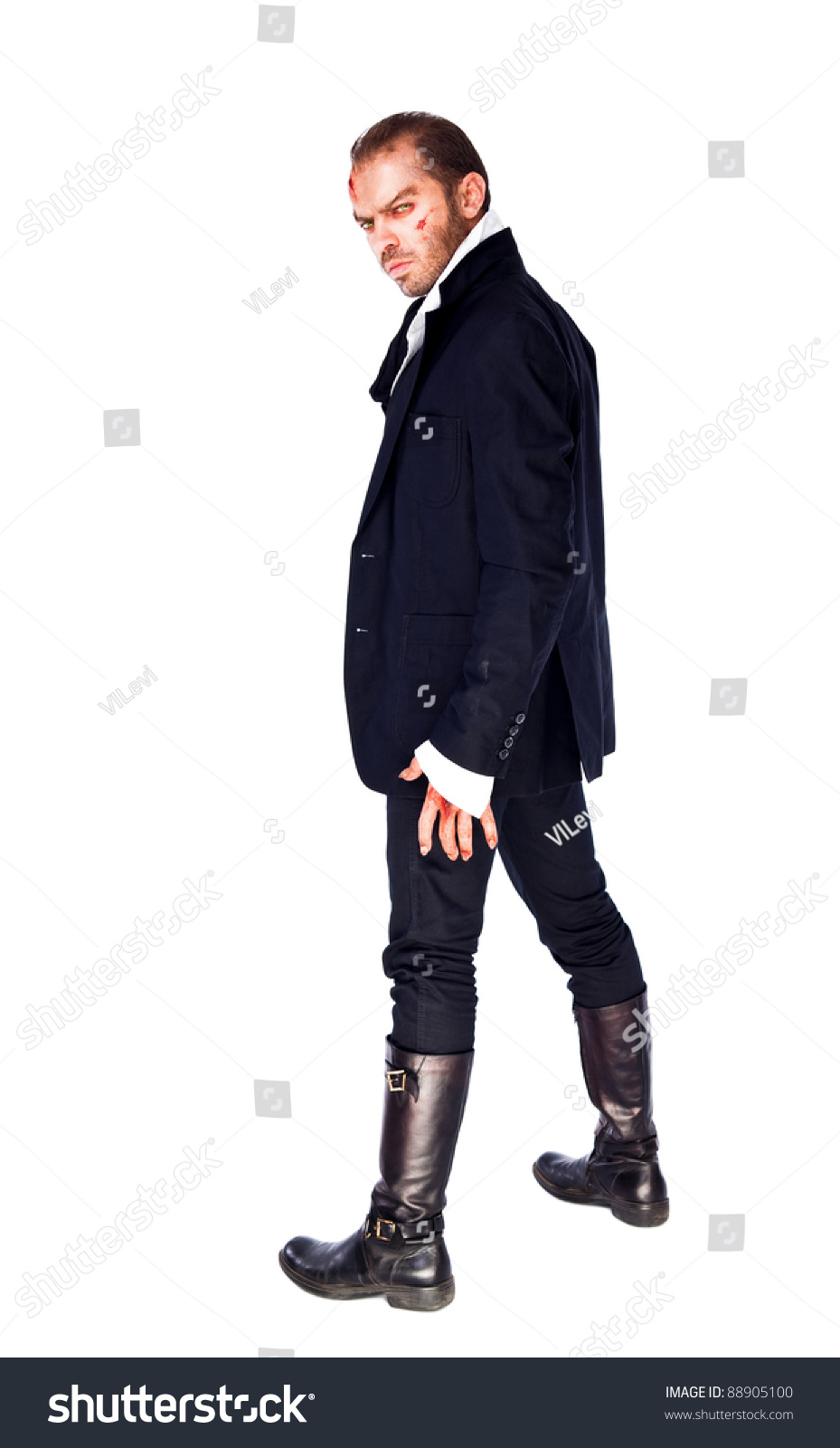 Evil Male Vampire Standing On White Stock Photo 88905100 ...