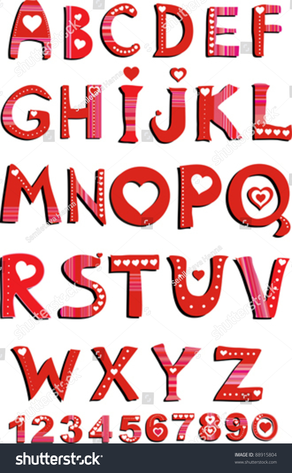 Decorative Letters Decorative Letters Love Alphabet Heart Letters Stock Vector