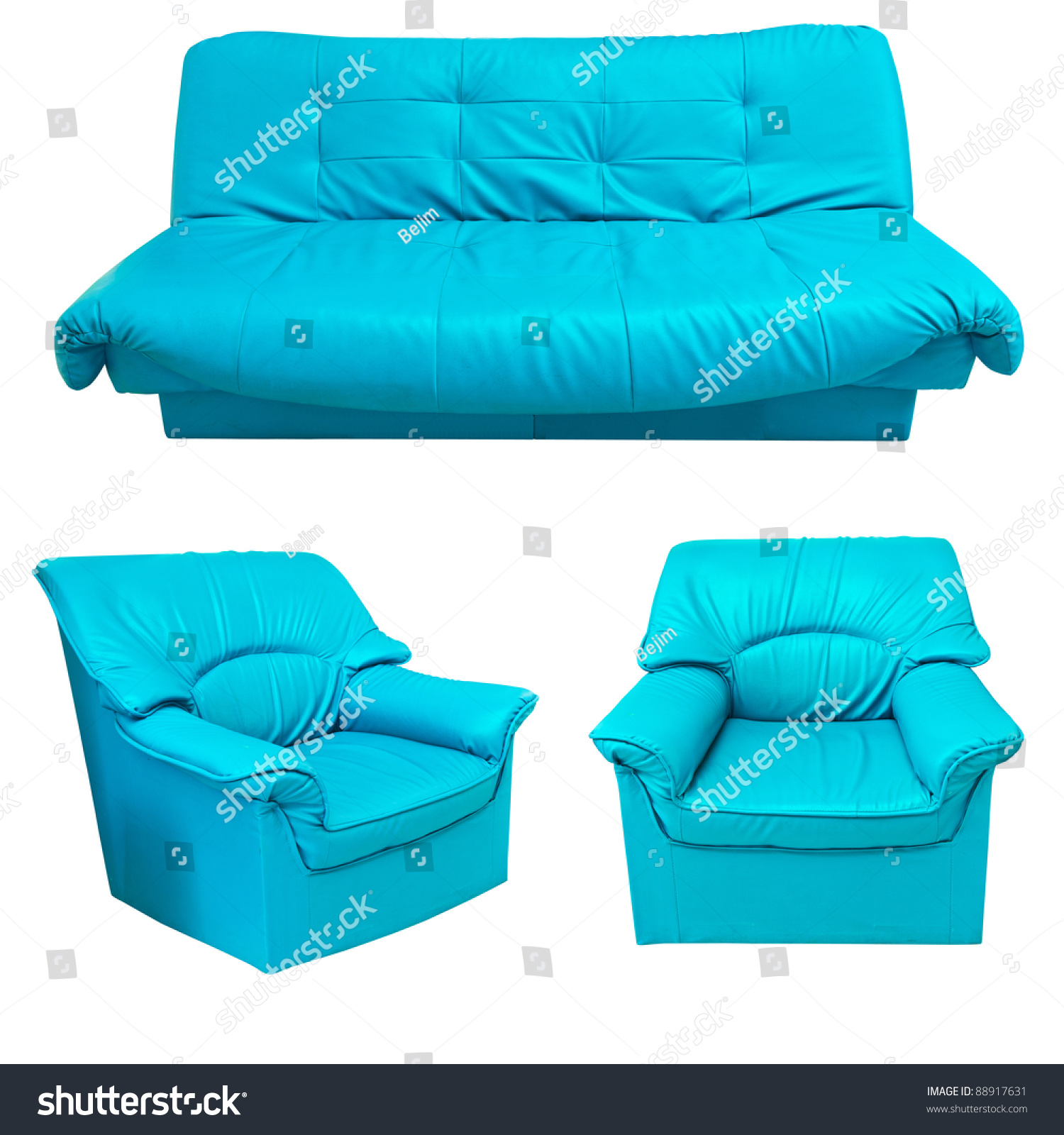 Blue Leather Sofa Set Isolated Stock Shutterstock