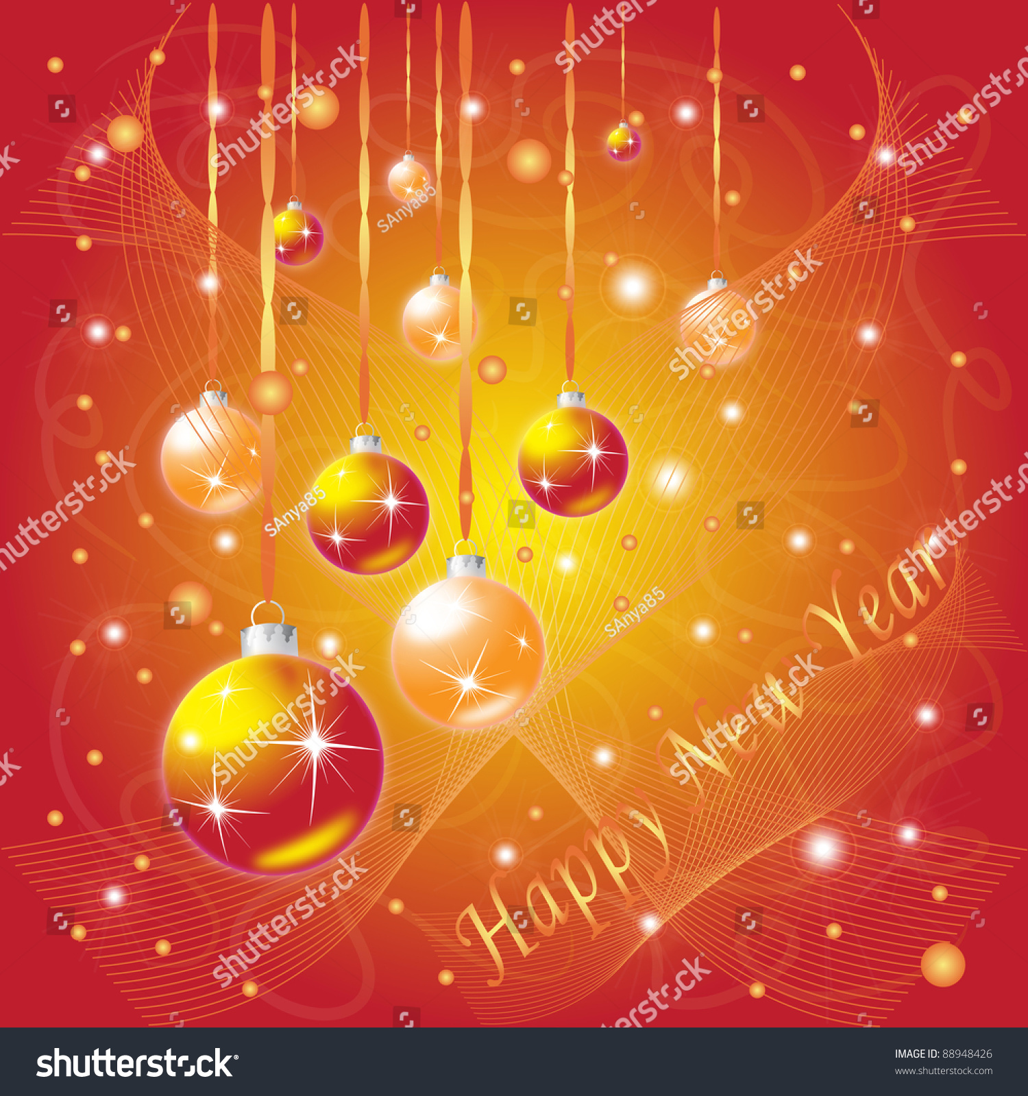 New Year Greeting Card Stock Photo Royalty Free 88948426