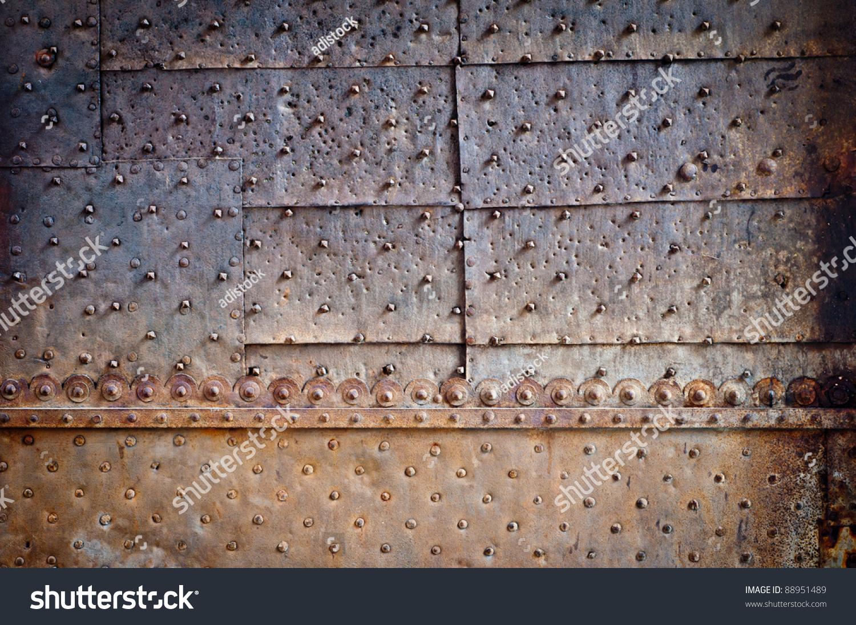 Rusty Metal Door rivets ornament on old rusty metal stock photo 88951489 - shutterstock