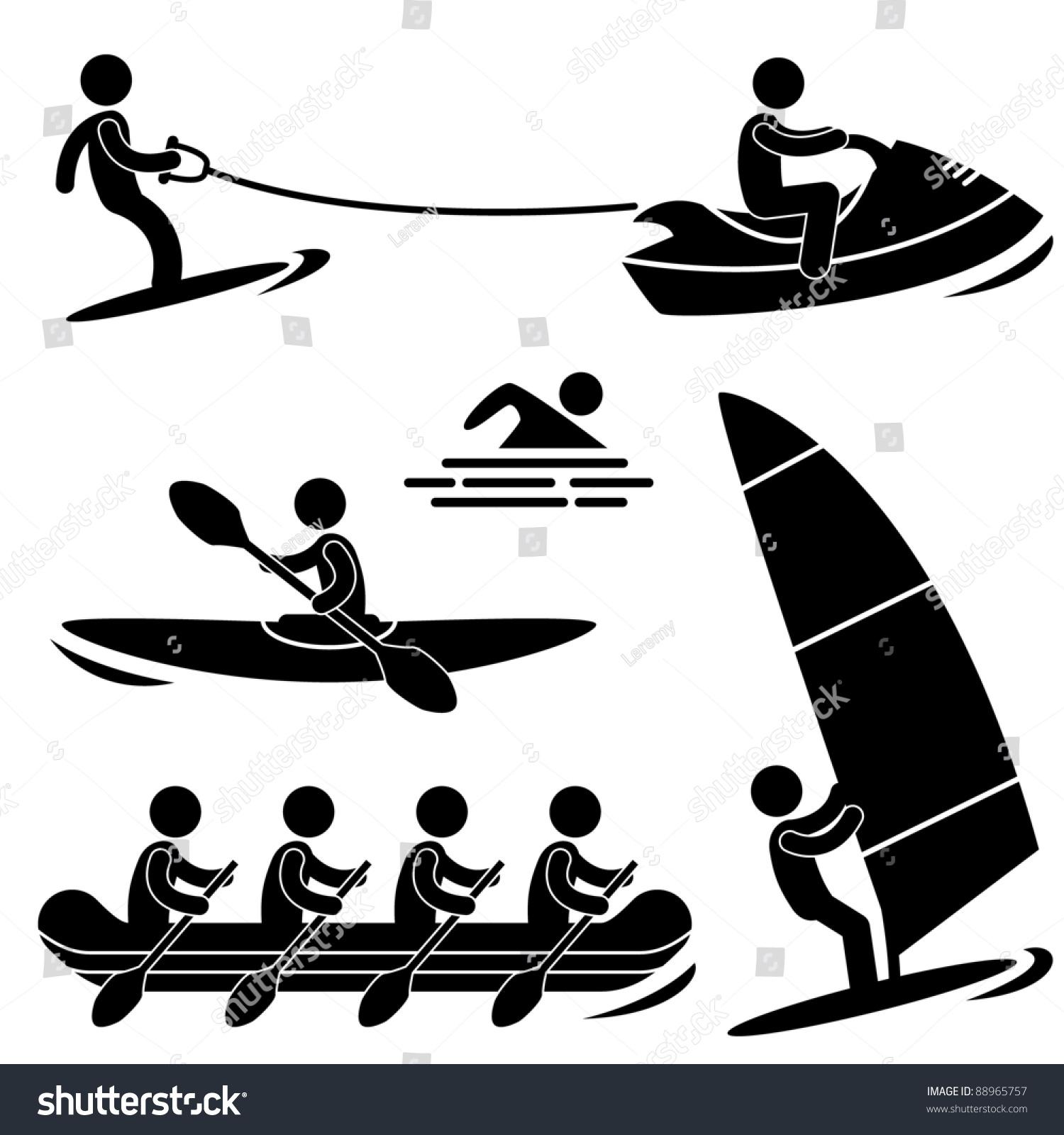 Water Sea Sport Surfing Skurfing Rowing Stock Vector 88965757 ...