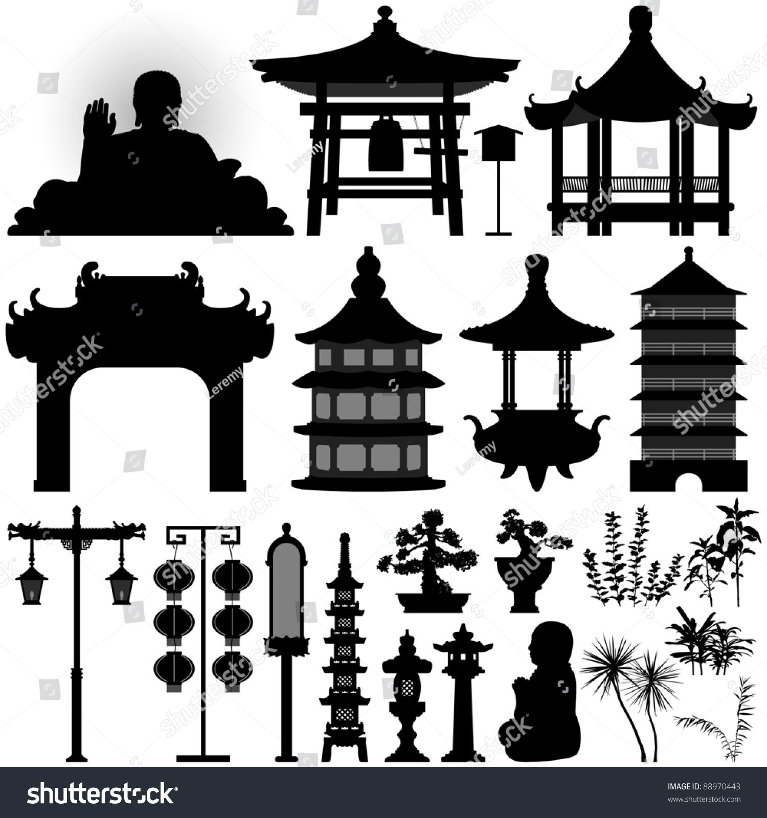 Asian Garden Design Elements chinese asian temple building architecture design stock vector