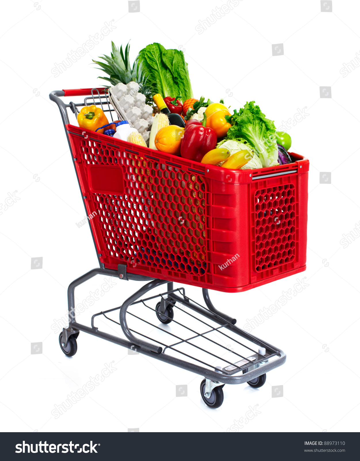 Grocery Shopping Cart Food Isolated Over Stock Photo ...