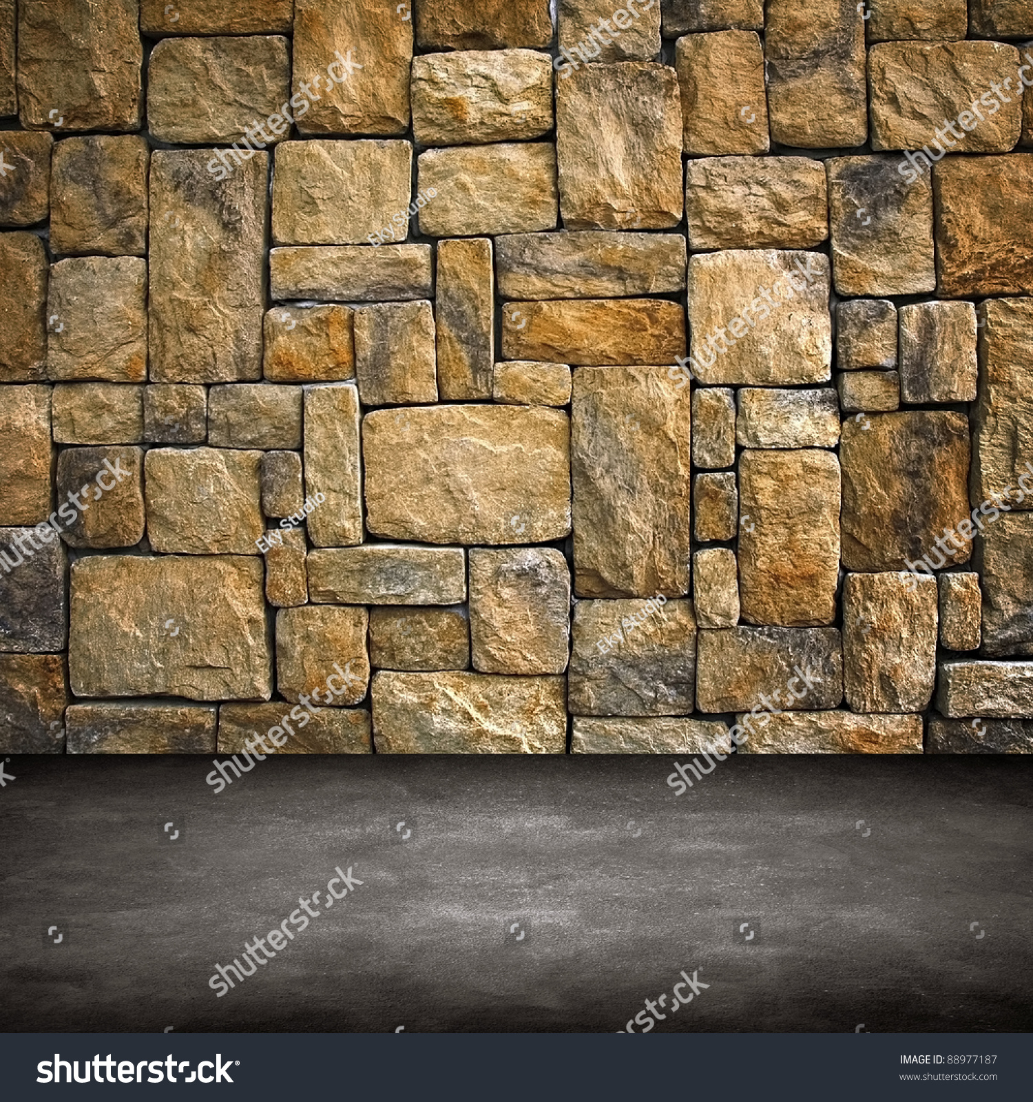 Interior stone wall stock photo 88977187 shutterstock for Rock wall designs interior
