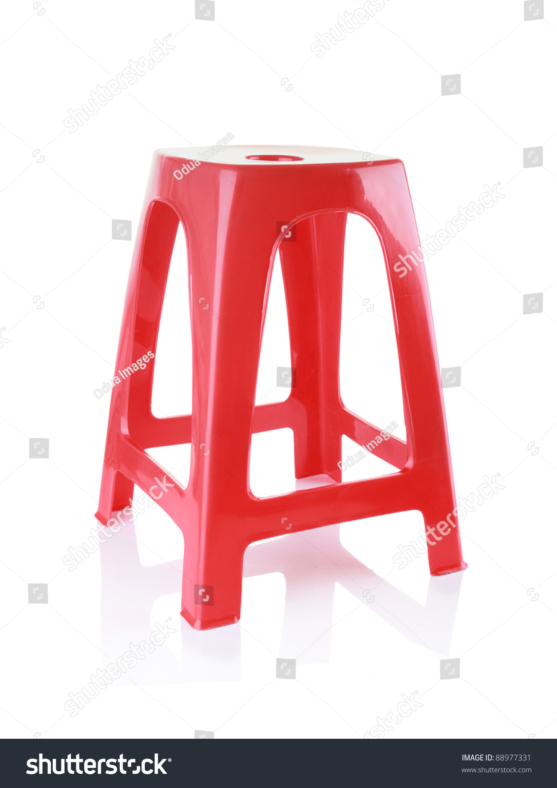 red plastic chair isolated on white background - Plastic Chair