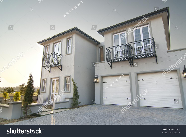 outside shot showing garage portion modern stock photo 88980706