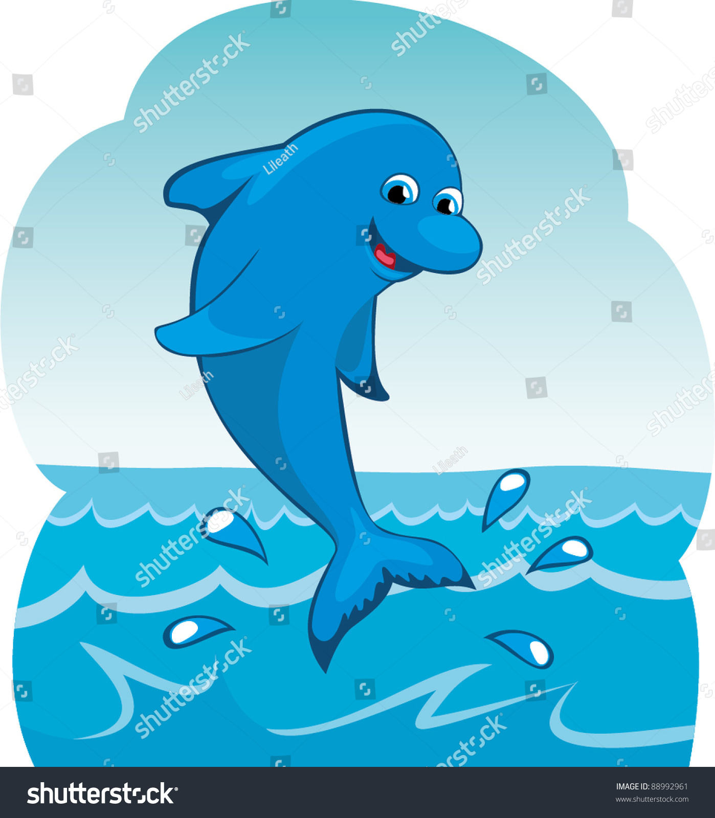 Water Funny Pictures Stock Vector Funny Cartoon Dolphin Jumping Out Of