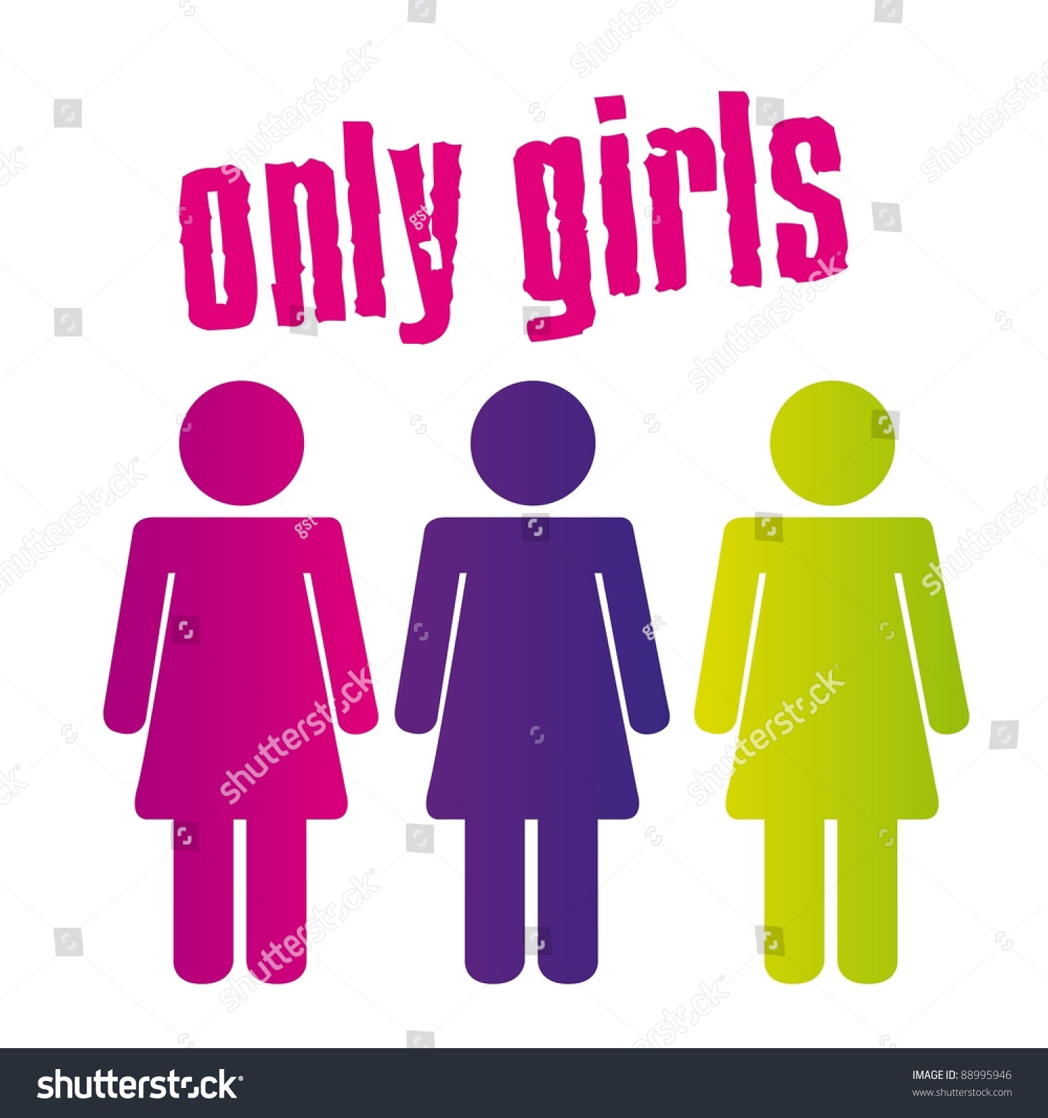 Colorful Only Girls Sign Isolated Over Stock Vector 88995946 ...