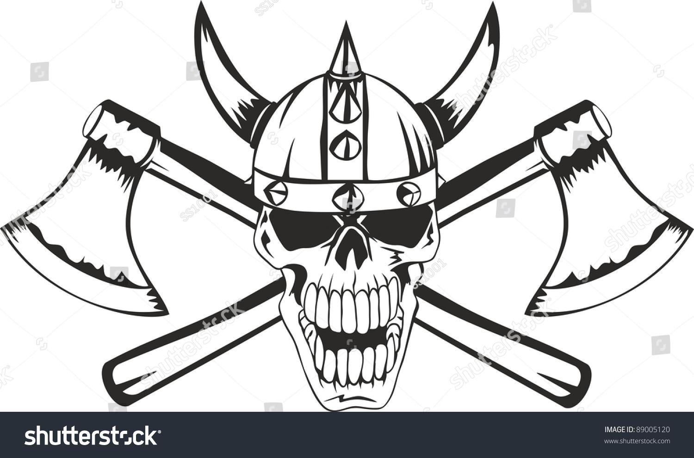 Skull Helmet Viking Crossed Axes Stock Vector Royalty Free