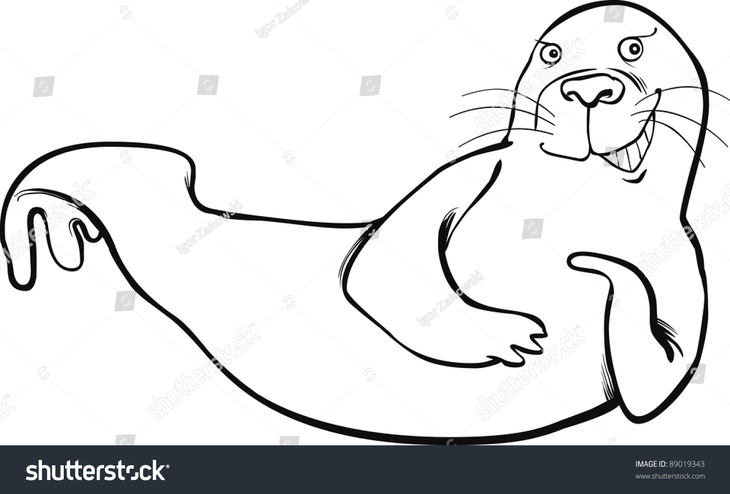 cartoon illustration funny seal coloring page stock vector