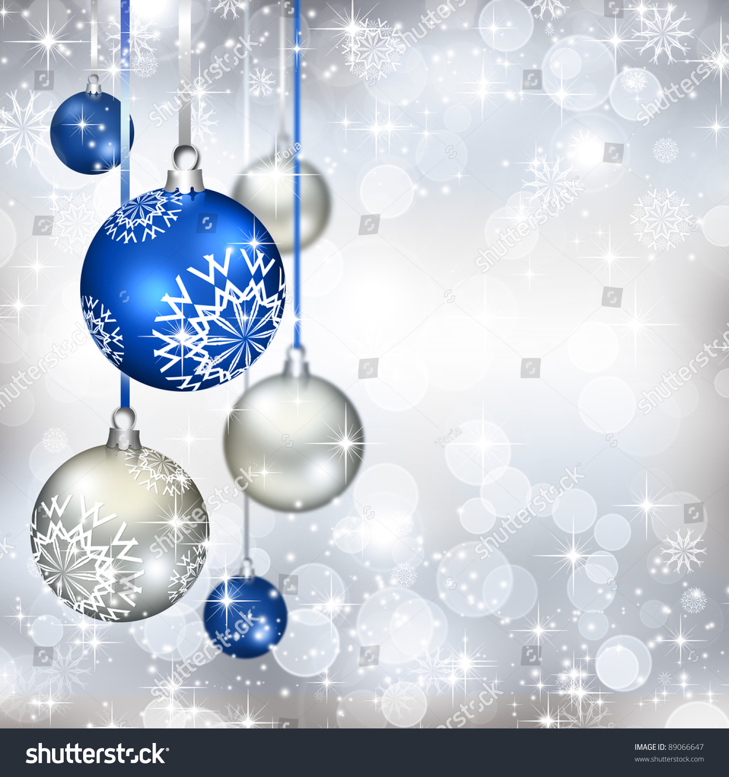 best elegant christmas background with blue baubles - Elegant Christmas