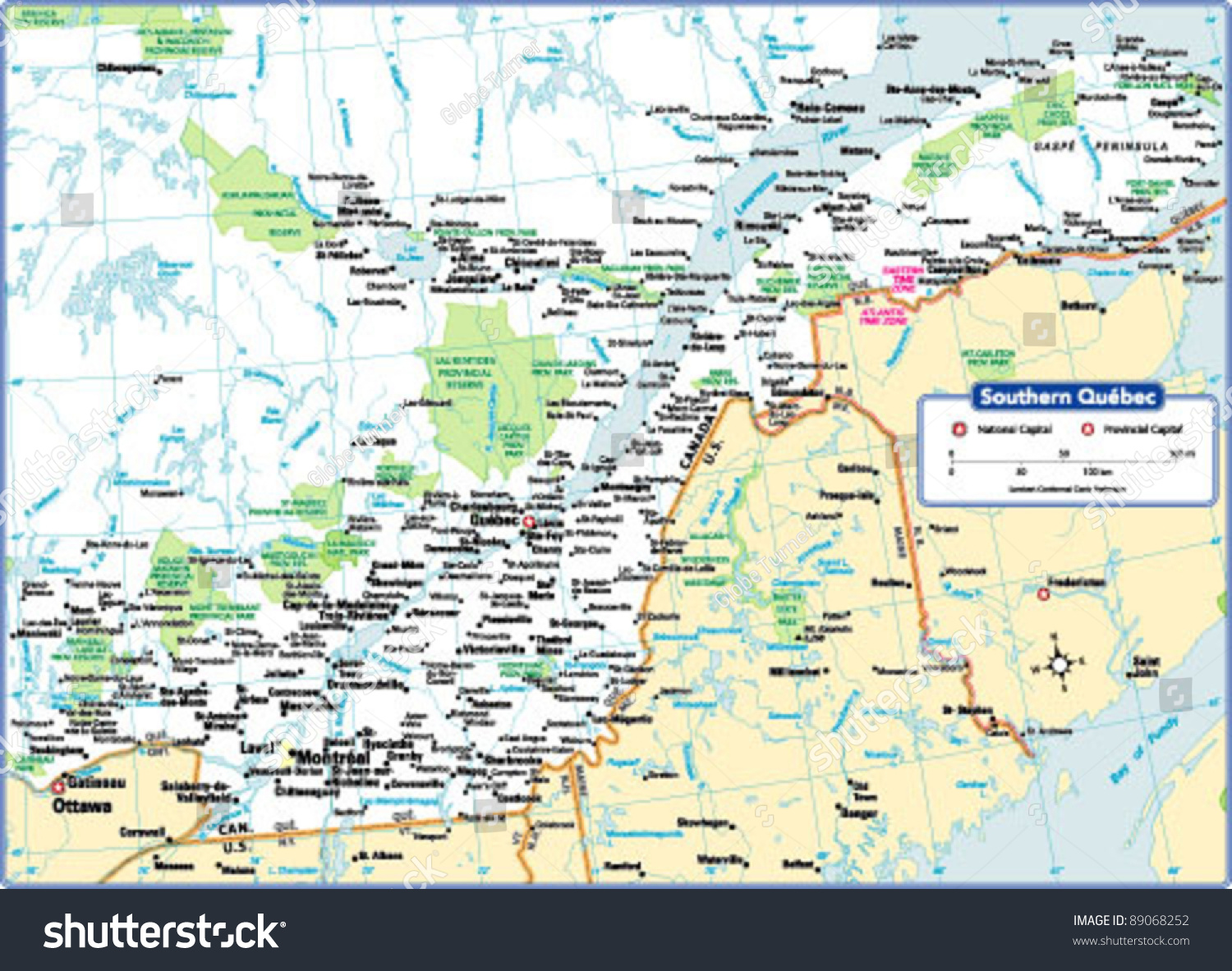 Southern Quebec Map Stock Vector  Shutterstock - Quebec chicago map