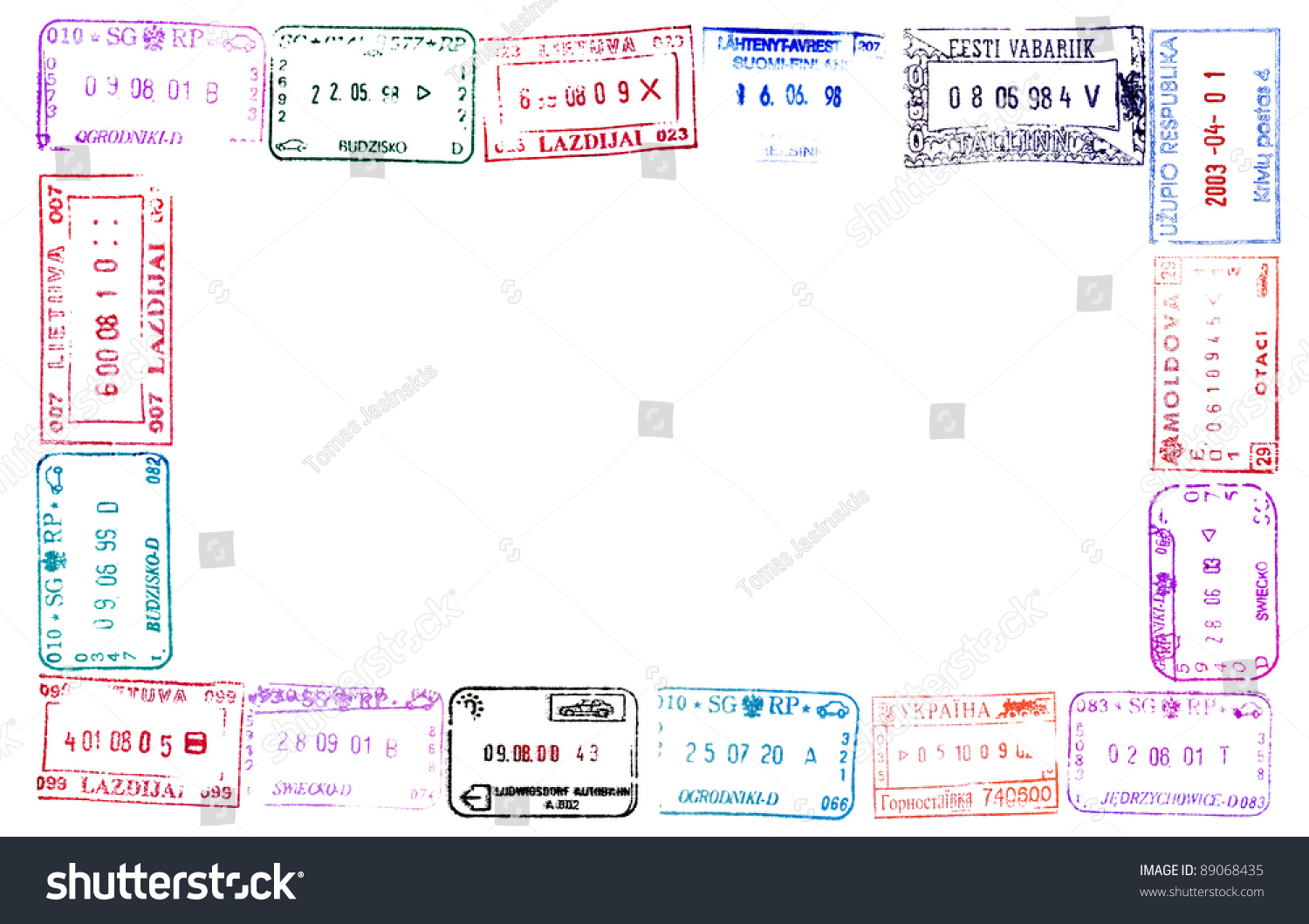 Colorful Passport Stamps Frame Your Design Stock Photo (Edit Now ...