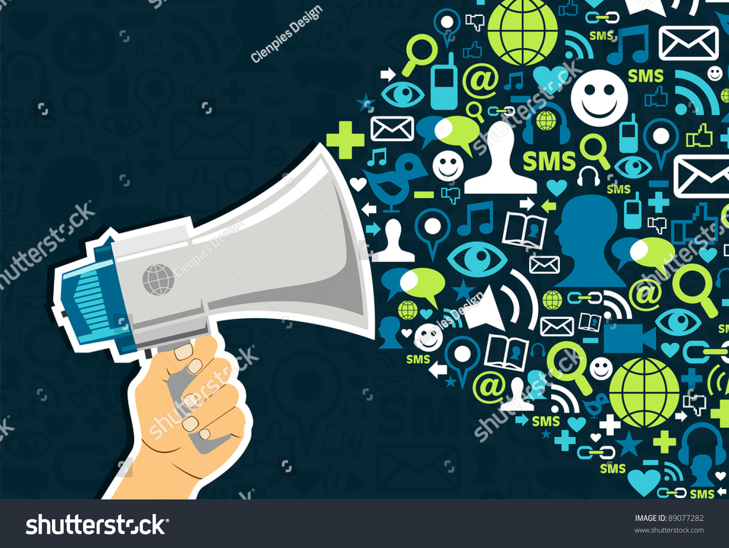 hand holding megaphone promotion social media stock vector