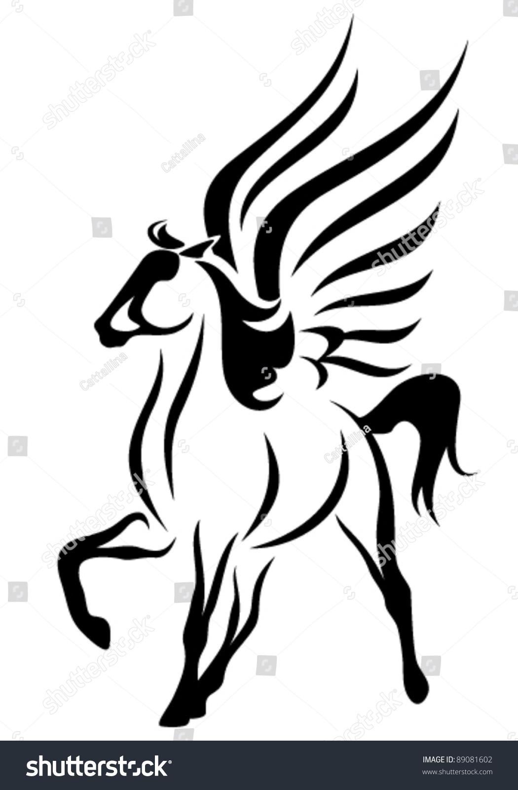 Beautiful pegasus vector illustration symbol inspiration stock beautiful pegasus vector illustration symbol of inspiration in greek mythology buycottarizona Gallery