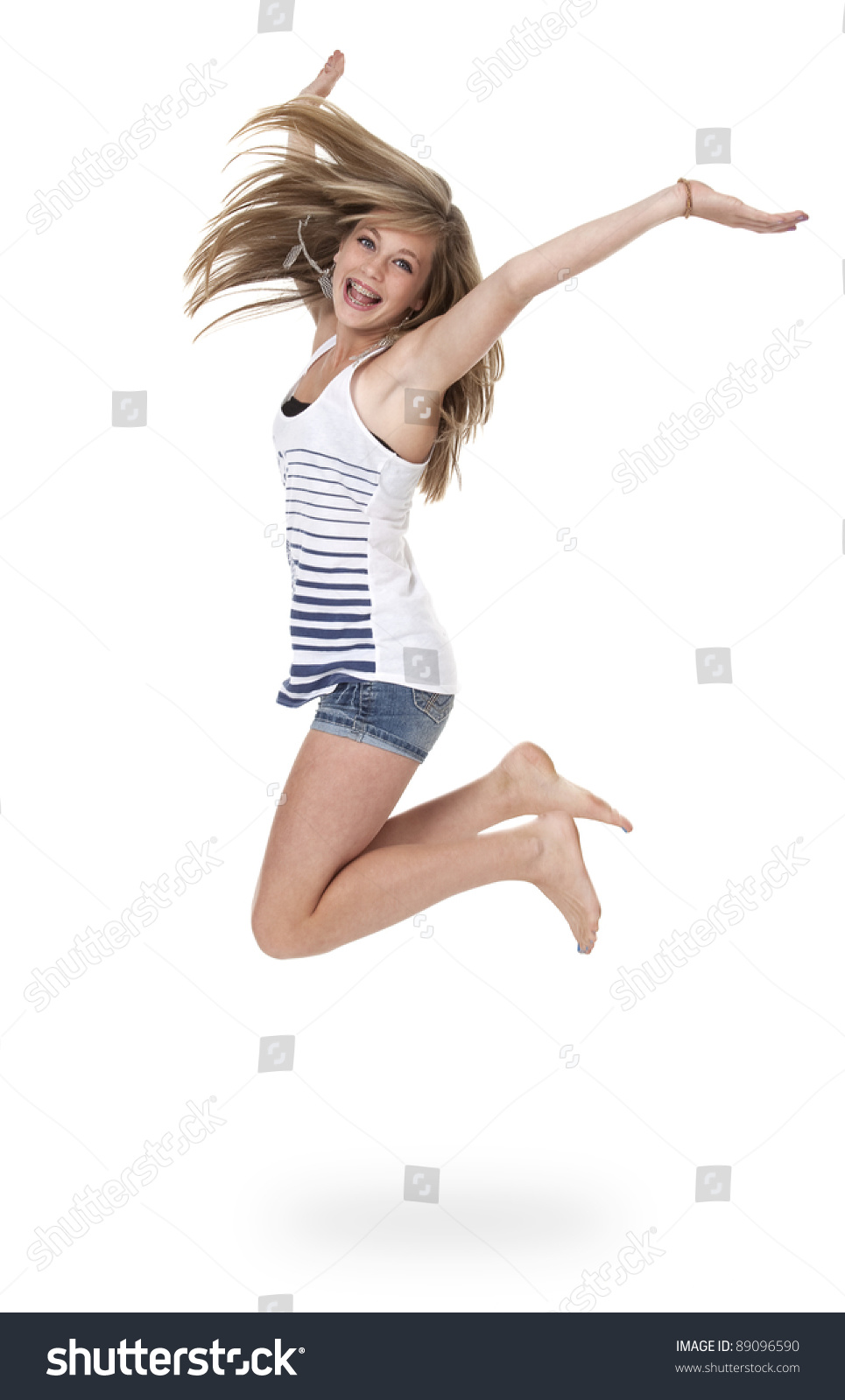 Pretty 14 Year Old Girl Jumping Stock Photo 89096590