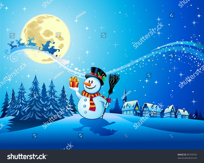 snowman gift christmas night santa sleigh stock vector 89109742