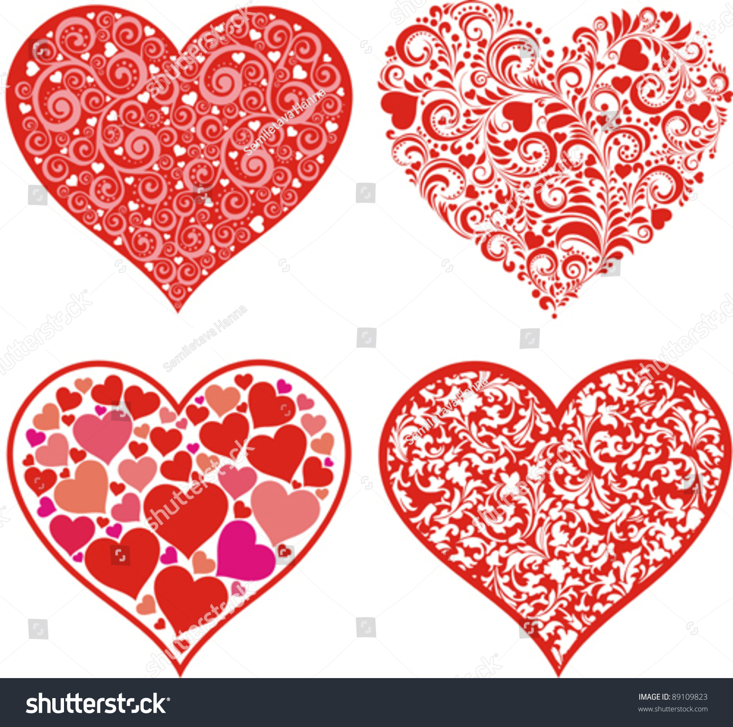 set hearts red valentine hearts floral stock vector 89109823