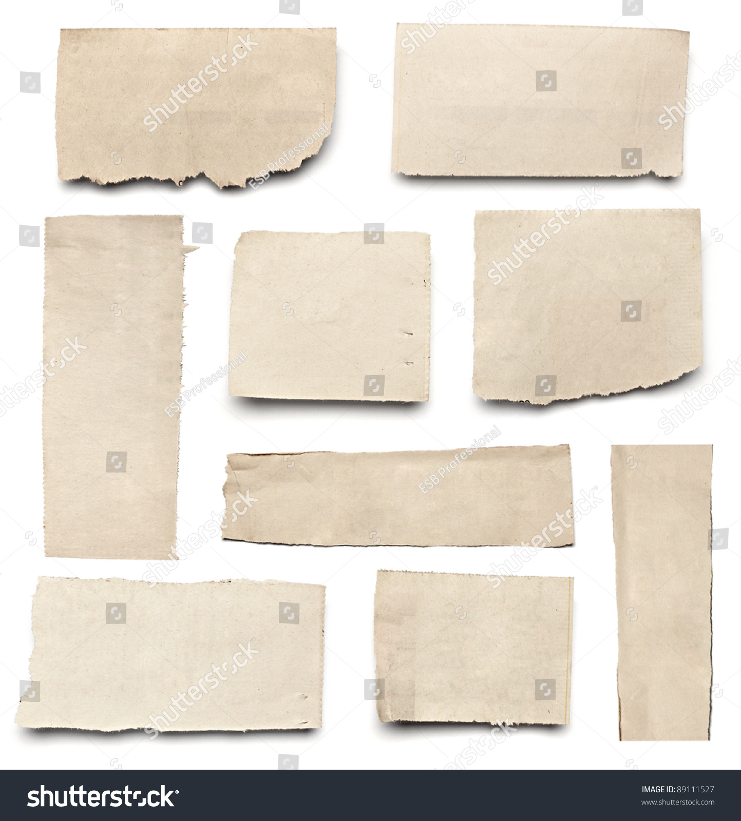 collection of  white ripped pieces of news paper on on white background. each one is shot separately #89111527
