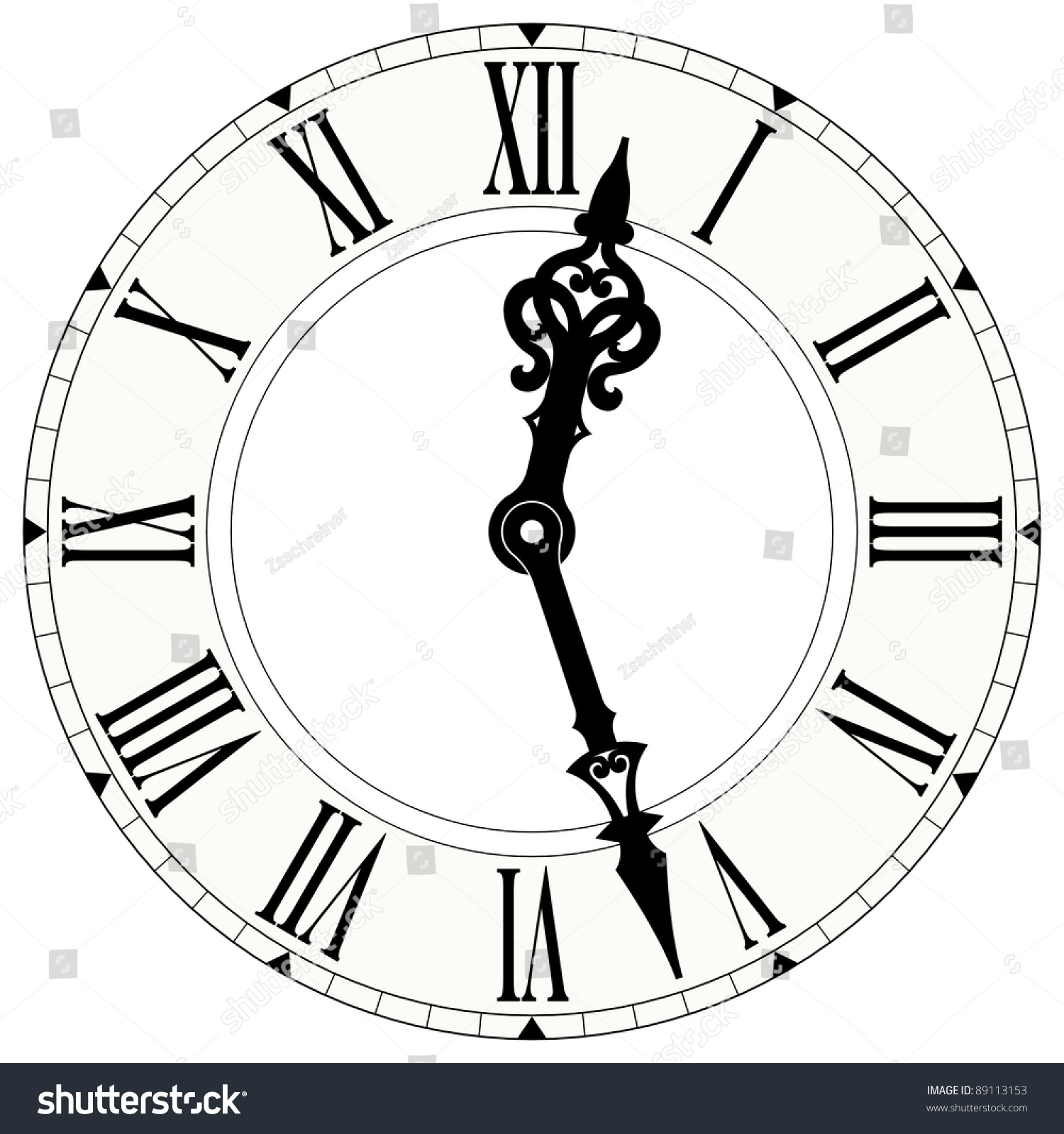 Illustration Roman Numeral Clock Stock Illustration
