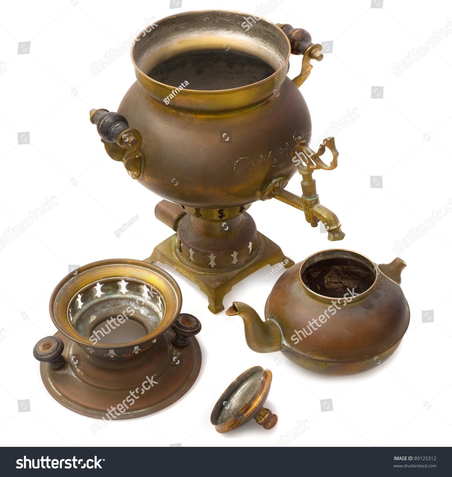 Samovar Old Russian Teapot Stock Photo 89125312 : Shutterstock
