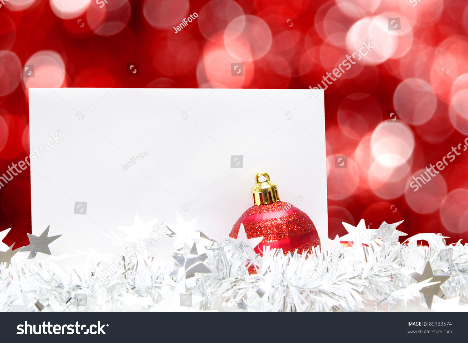 Blank Christmas Greeting Card With Bauble Garland And Abstract – Blank Xmas Cards