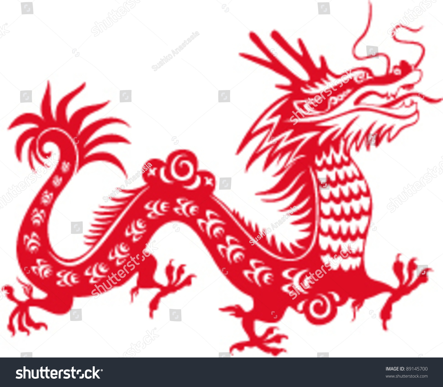 Isolated Red Dragon On White Hand Drawn Ruddy Chinese Symbol
