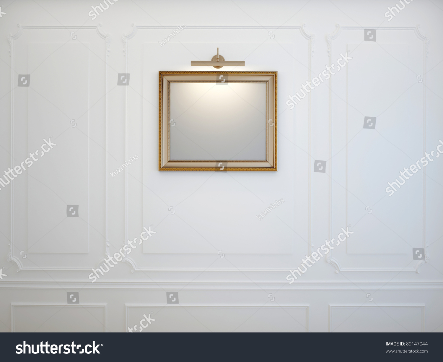 Picture Frame Moulding On Walls classic gold picture frame on molding stock illustration 89147044