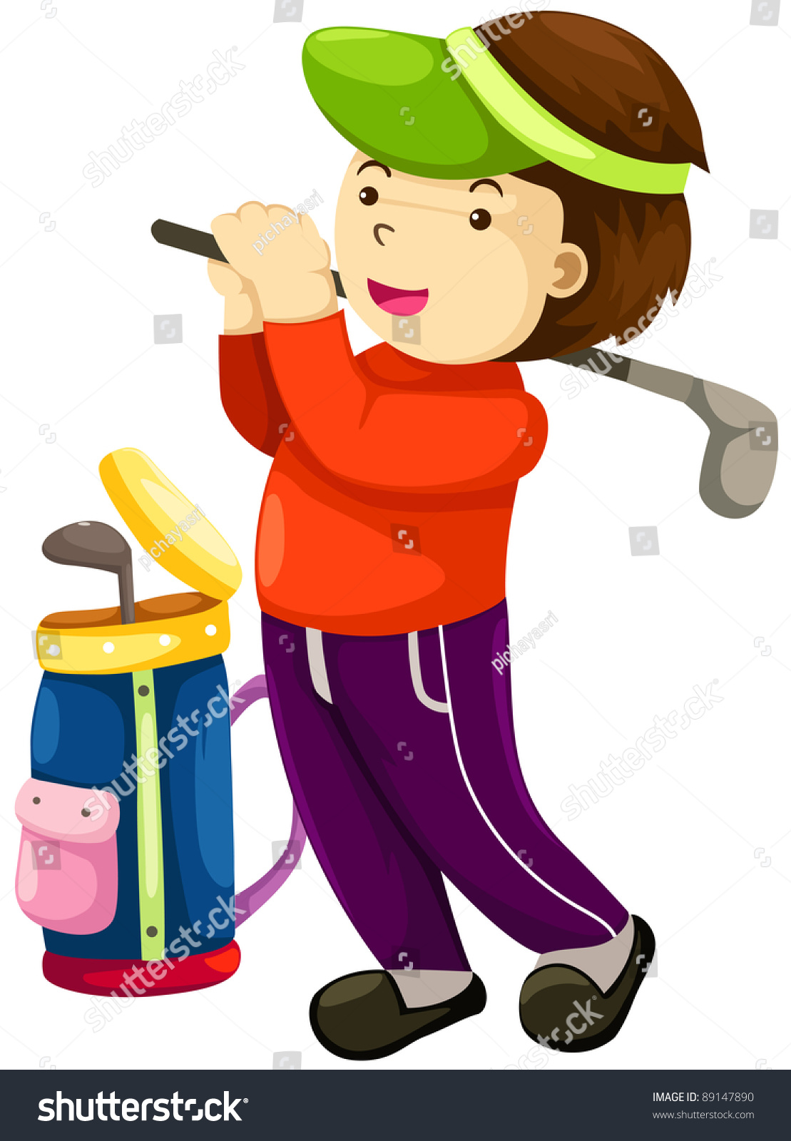 Illustration Young Boy Playing Golf On Stock Illustration