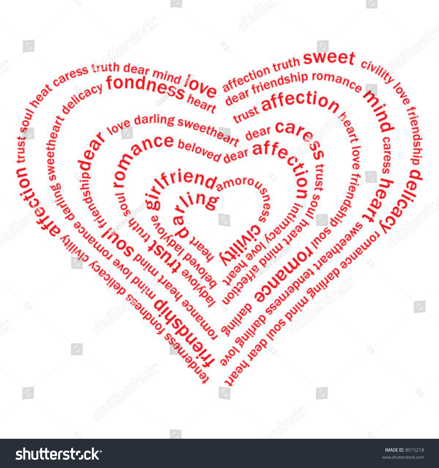 Valentine Heart Sweet Love Words On Stock Vector 8915218   Shutterstock