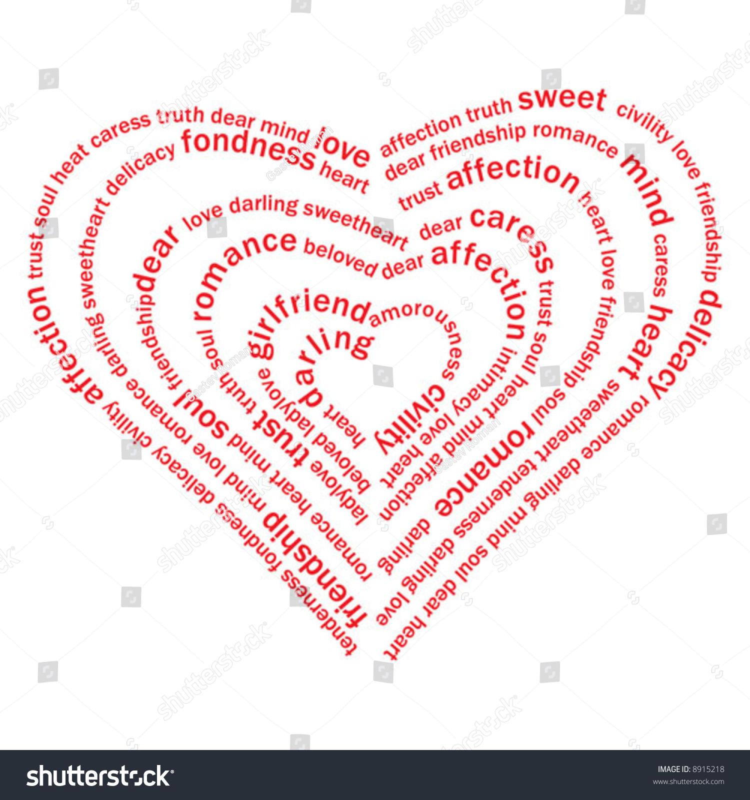 Valentine Heart Sweet Love Words On Stock Vector 8915218   Shutterstock