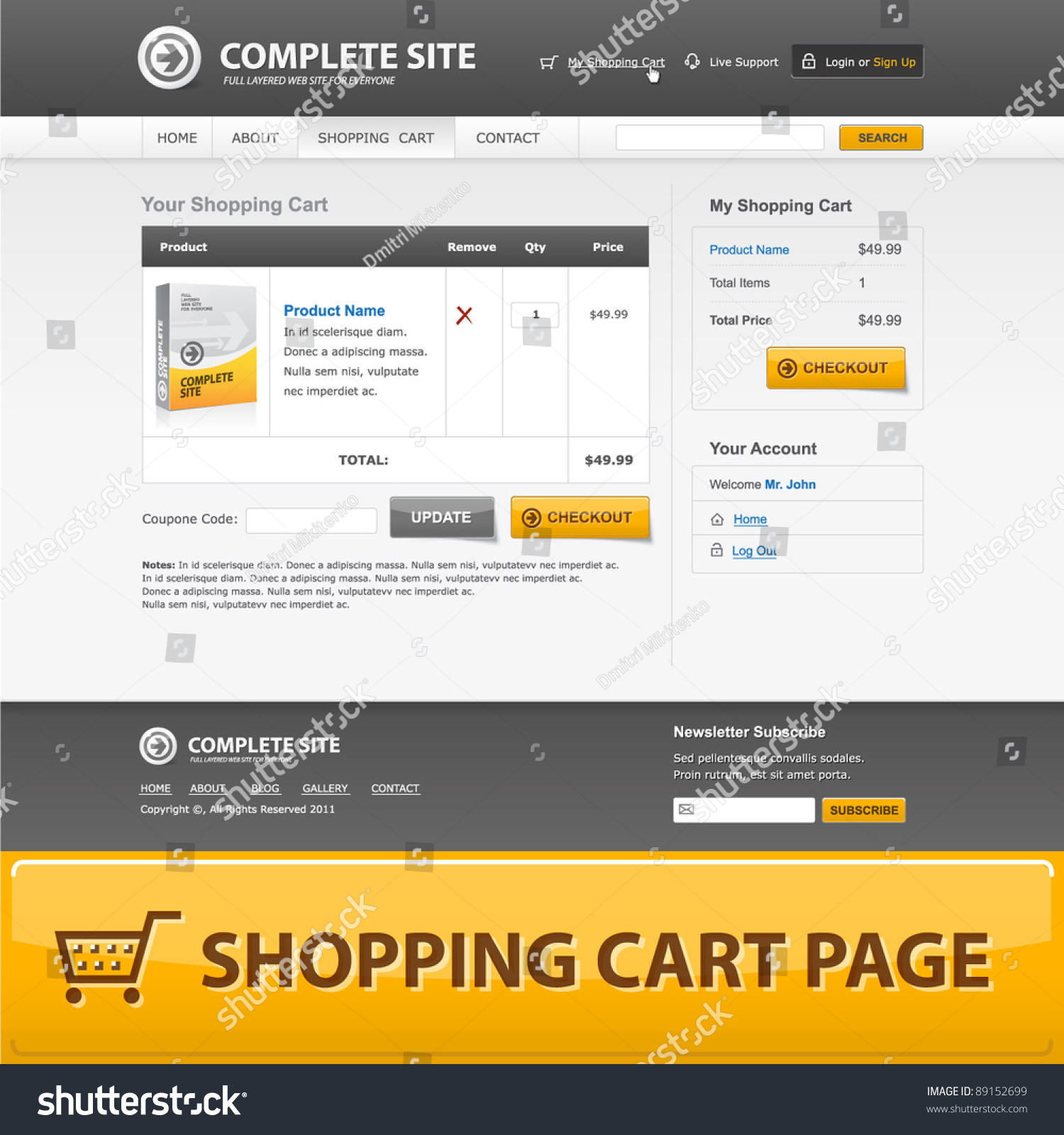 Shopping Cart Web Design Template Grey Stock Vector Royalty Free 89152699
