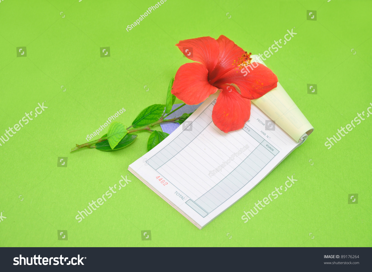 Hibiscus Flower With Blank Page Receipt Book Green Background Spanish T