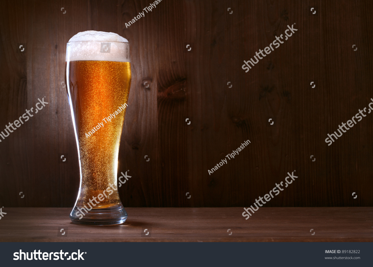 glass beer on wood - photo #6