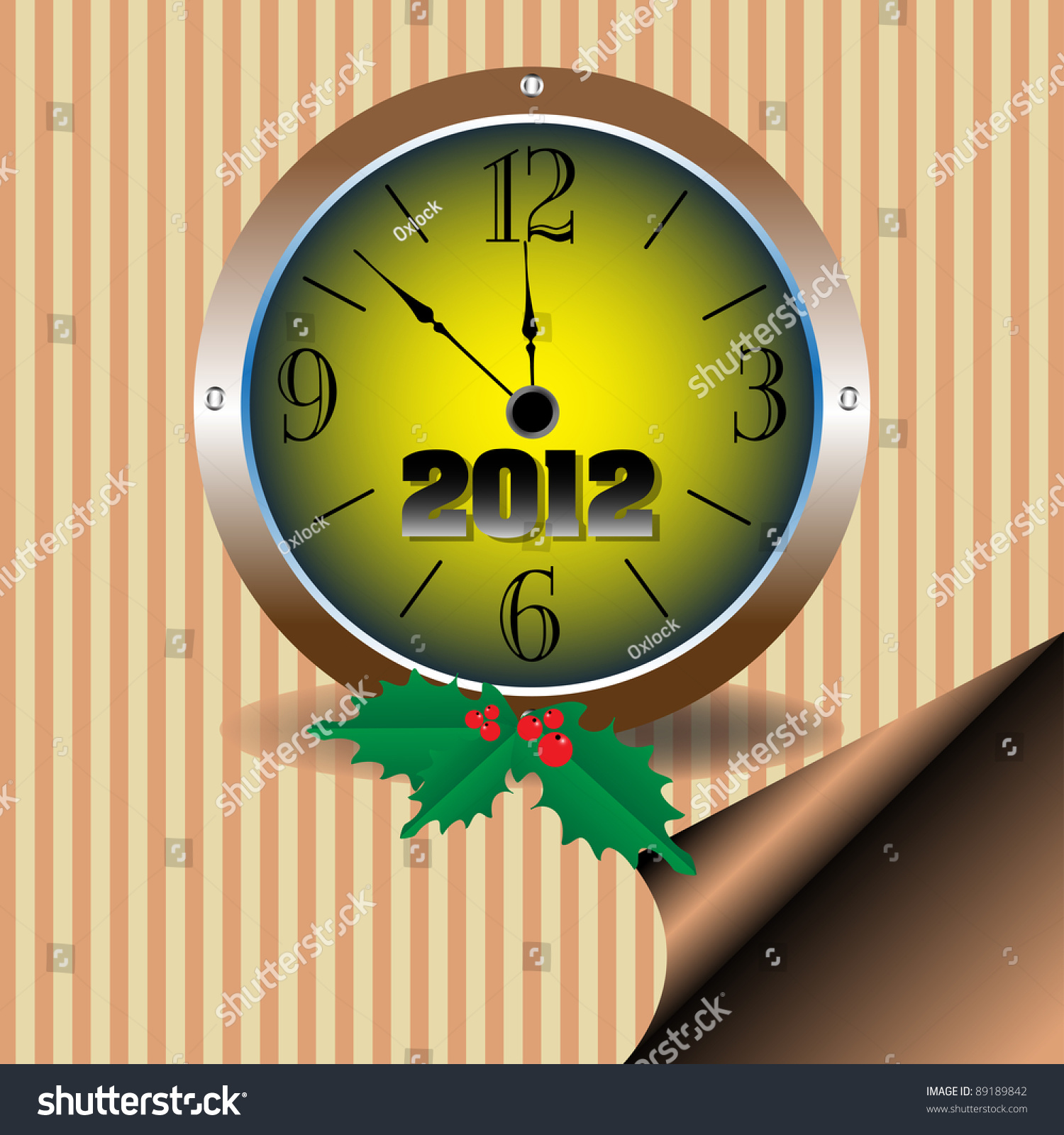 Abstract Colorful Background Mistletoe Clock Showing Stock Vector ...
