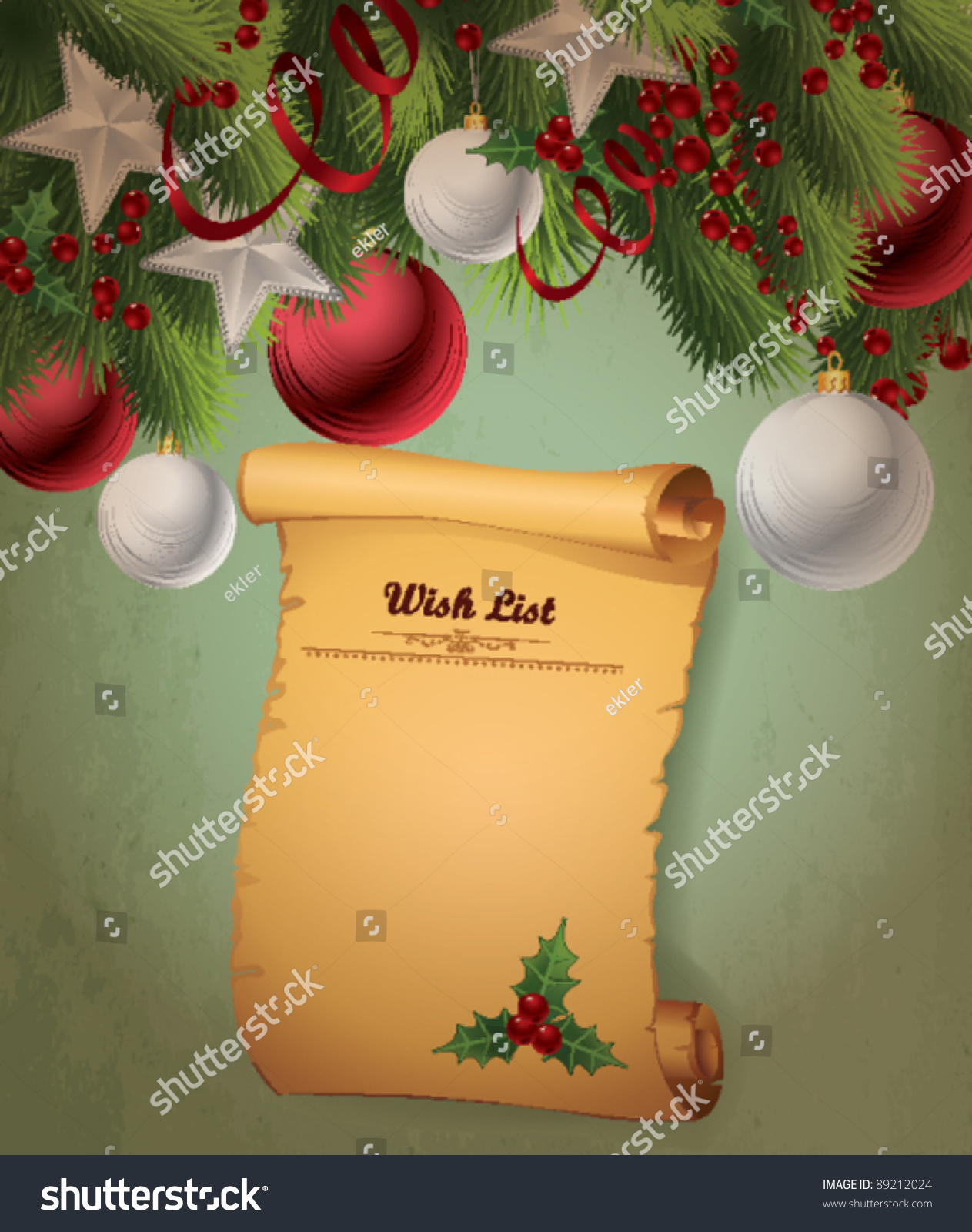 Christmas Wish List Stock Vector Royalty Free 89212024 Shutterstock