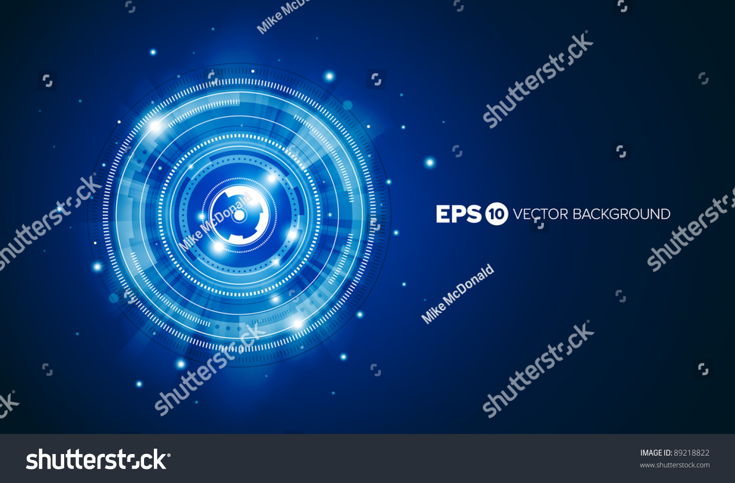 Abstract Technology Background With Light Effect: Blue Abstract Tech Circles Background Design With Light