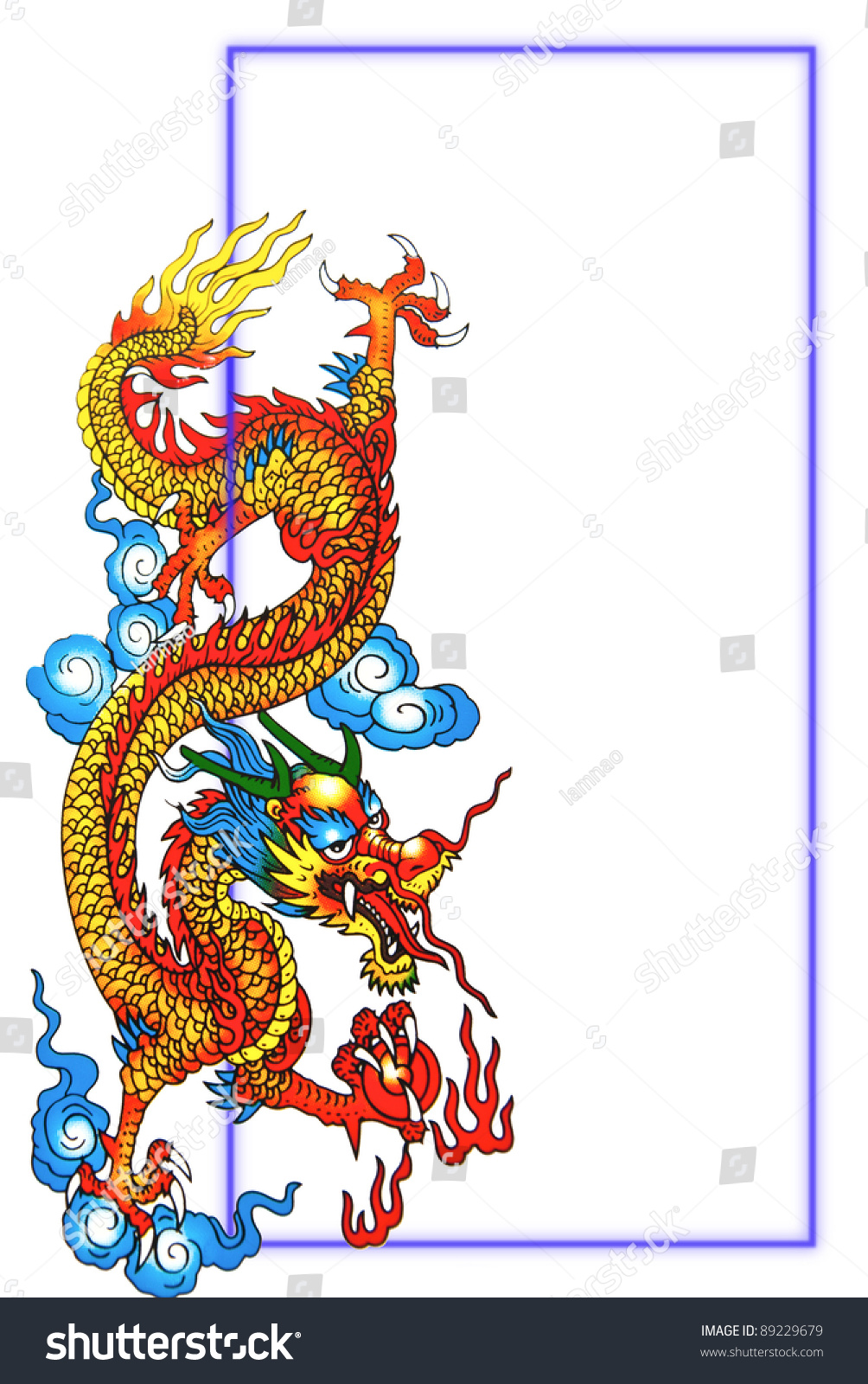 Colorful Chinese Dragon Blue Frame Stock Photo & Image (Royalty-Free ...