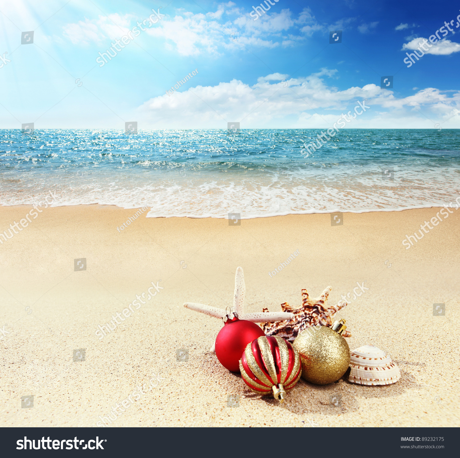 Christmas Card Merry Christmas From Tropic Stock Photo