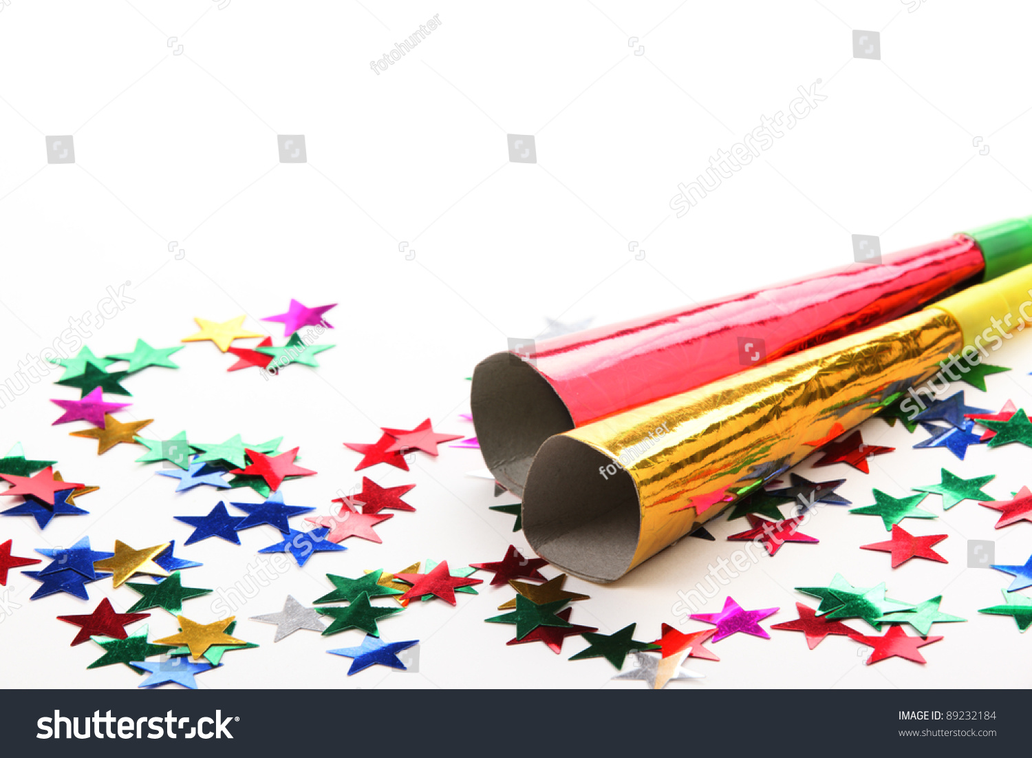 new years eve noisemaker and party confetti