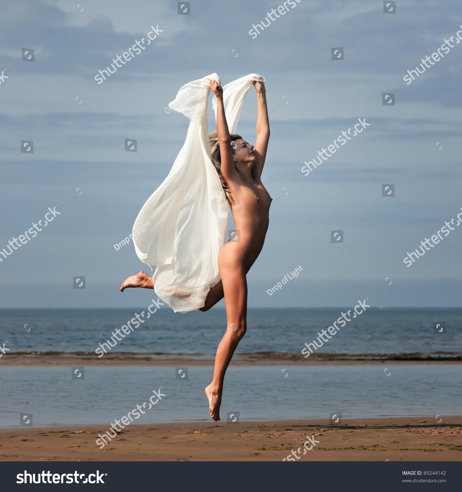 Amusing Nude girl jumping pic